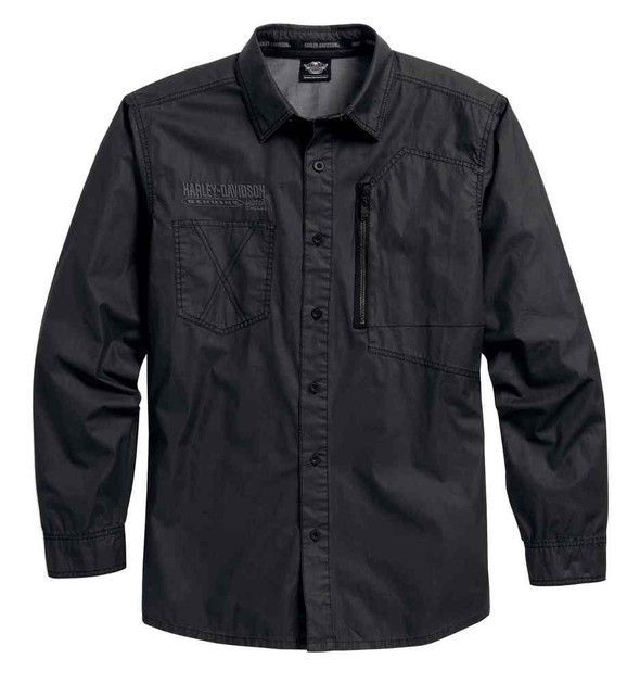 Harley-Davidson Men's Coated Chambray Button Front Shirt, Phantom Blk 96101-16VM - Wisconsin Harley-Davidson