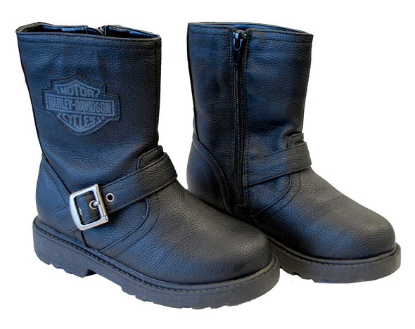 Harley-Davidson Boy's Pleather Biker Boot, Side Buckle, Black 4275064/4285064 - Wisconsin Harley-Davidson