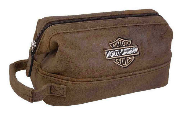 Harley-Davidson Bar & Shield Distressed Leather Toiletry Kit, Brown 99609-BRN - Wisconsin Harley-Davidson
