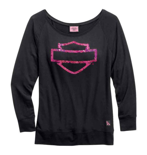 Harley-Davidson Women's Pullover, Pink Label Bar & Shield Tee, Black 99112-15VW - Wisconsin Harley-Davidson