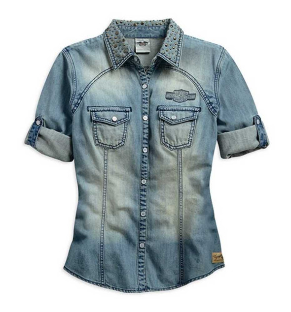 Harley-Davidson Women's Genuine Short Sleeve Denim Shirt, Light Blue. 99137-15VW - Wisconsin Harley-Davidson
