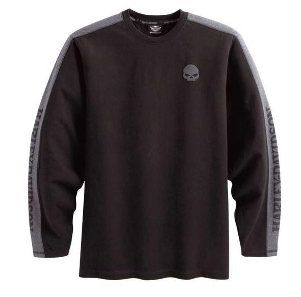 Harley-Davidson Men's Skull Long Sleeve Waffle Knit Shirt Black 99068-12VM - Wisconsin Harley-Davidson