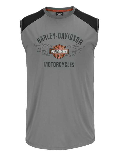 Harley-Davidson Men's Performance Muscle Shirt, Flaming B&S Sleeveless Tee H55W - Wisconsin Harley-Davidson