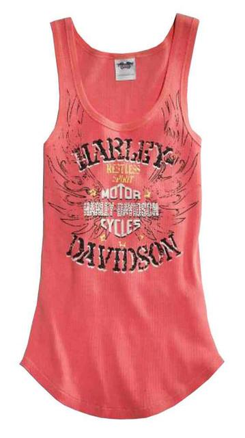 Harley-Davidson Women's Tank Top, Restless Spirit B&S Winged, Rose 96046-15VW - Wisconsin Harley-Davidson