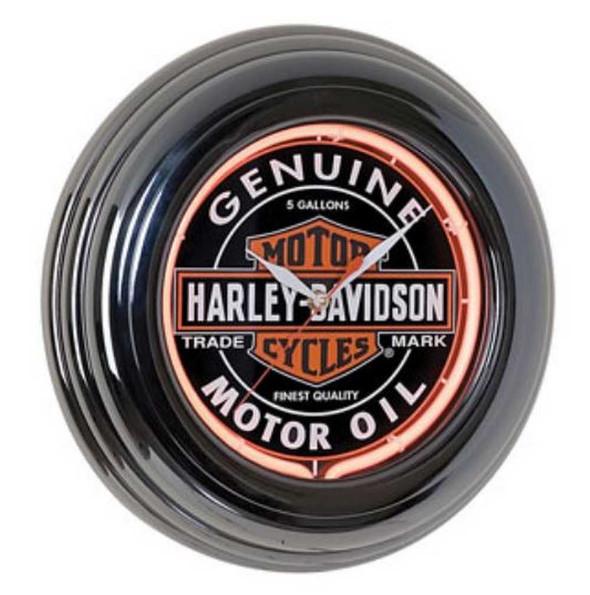 Harley-Davidson Genuine Oil Can Orange Neon Clock HDL-16617 - Wisconsin Harley-Davidson
