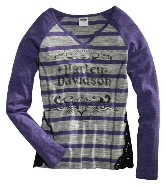 Harley-Davidson Women's Crochet Accent Long Sleeve Striped Shirt 96110-16VW - Wisconsin Harley-Davidson