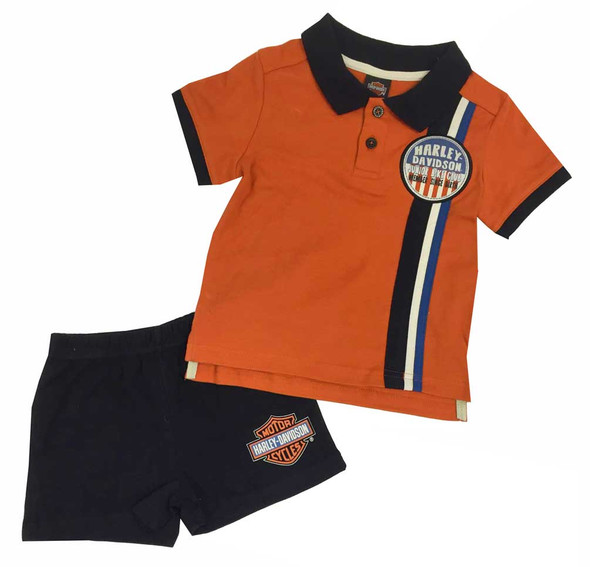 Harley-Davidson Little Boys' Interlock Short Top Set White/Black/Orange. 2071565 - Wisconsin Harley-Davidson