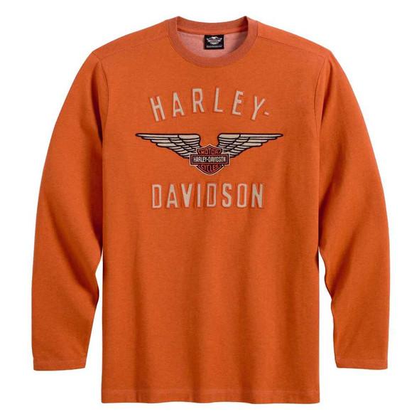 Harley-Davidson Men's Knit Shirt, Winged Performance Long Sleeve ORG 99093-13VM - Wisconsin Harley-Davidson