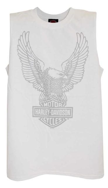 Harley-Davidson Men's H-D Eagle Tank Top Tee, White Muscle T-Shirt 30296659 - Wisconsin Harley-Davidson