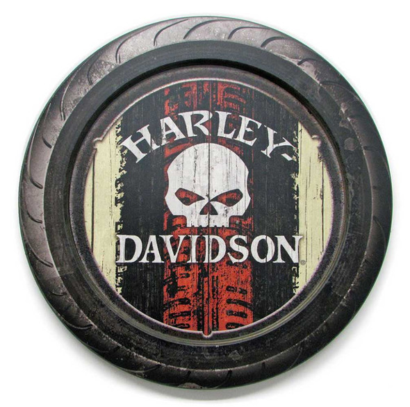 Harley-Davidson 23 in Round 2 Piece Tire Willie G Wooden Sign CU118A-HARL-HDFI-2 - Wisconsin Harley-Davidson
