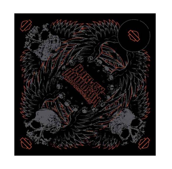 Harley-Davidson Men's Bandana, Gothic Winged Skull Graphic, Black BA10830 - Wisconsin Harley-Davidson