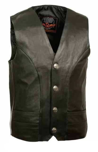 Milwaukee Leather Men's Classic Vest w/ Buffalo Nickel Snaps ML1368 - Wisconsin Harley-Davidson