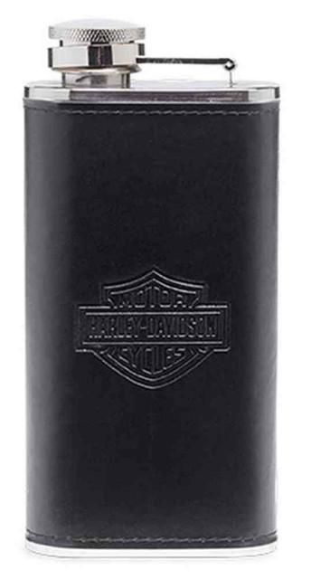 Harley-Davidson Bar & Shield Logo Flask Barware. Black/Silver. 96809-16V - Wisconsin Harley-Davidson