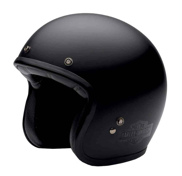 Harley-Davidson Men's 3/4 Helmet, Retro Bar & Shield, Matte Black 98368-15VM - Wisconsin Harley-Davidson