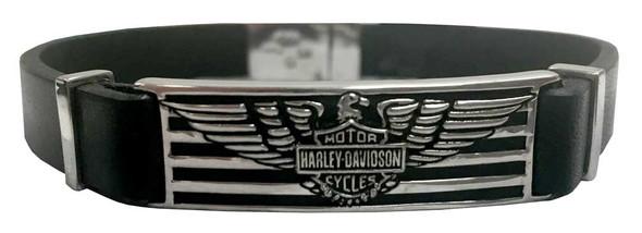 Harley-Davidson Men's Eagle & Stripes Bracelet, Black Leather HDB0349-8 - Wisconsin Harley-Davidson