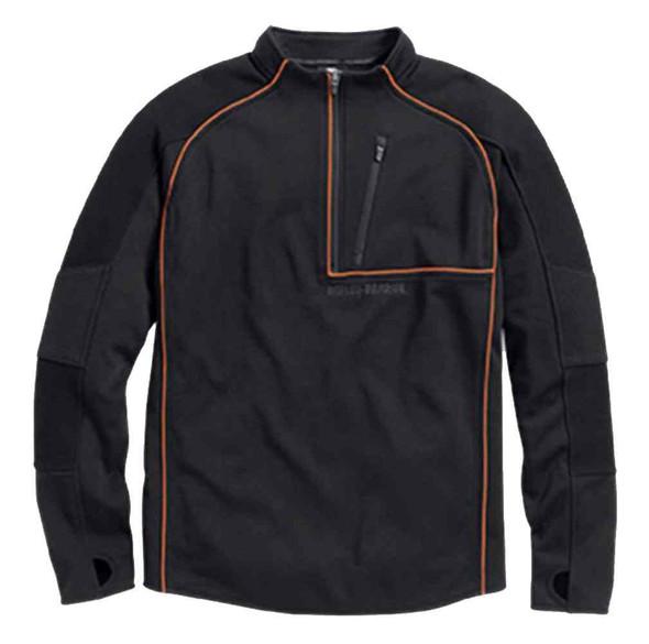 Harley-Davidson Men's Athletic Textured Knit Pullover, Black/Orange 96090-16VM - Wisconsin Harley-Davidson