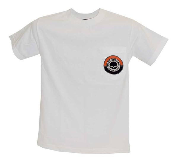 Harley-Davidson Men's T-Shirt, Willie G Skull Chest Pocket Tee, White 30291816 - Wisconsin Harley-Davidson