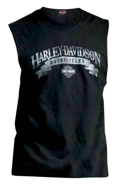 Harley-Davidson Men's Sleeveless Muscle Tee, Tough As Stone H-D Script, Black - Wisconsin Harley-Davidson