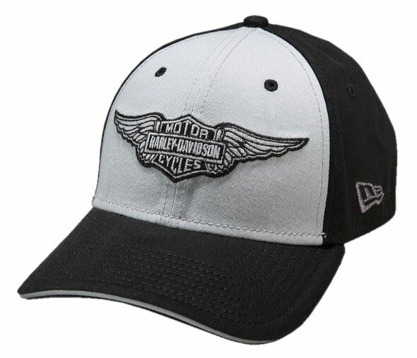 Harley-Davidson Men's 39Thirty B&S Winged Logo Baseball Cap, Black. 99401-15VM - Wisconsin Harley-Davidson