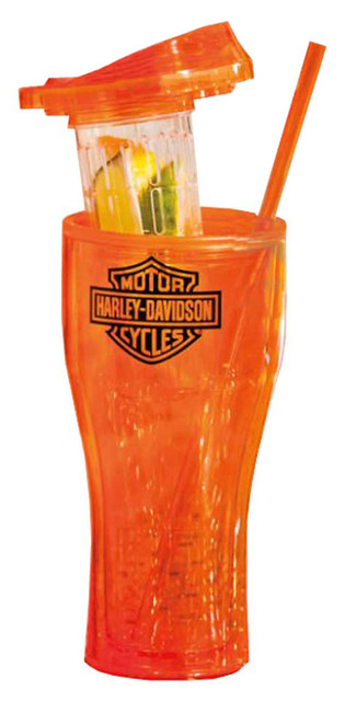 Harley-Davidson Infuser Travel Cup, Bar & Shield Logo, Orange 2AIS4900 - Wisconsin Harley-Davidson