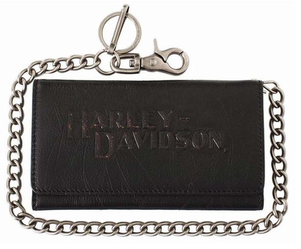 Harley-Davidson Men's Biker Tri-Fold Chain Wallet Black Leather VM2017L-Black - Wisconsin Harley-Davidson