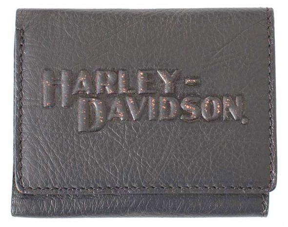 Harley-Davidson Men's HD Classic Tri-Fold Wallet Black Leather VM2000L-Black - Wisconsin Harley-Davidson