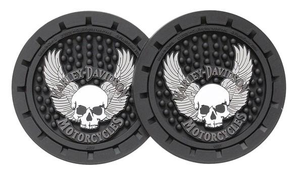 Harley-Davidson Skull & Wings Car Drink Holder Coasters, Set Of 2 CG627 - Wisconsin Harley-Davidson
