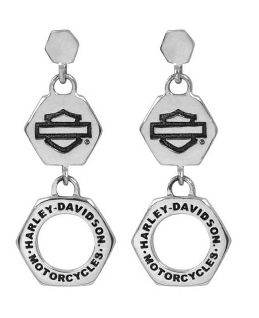 Harley-Davidson Womens Earrings, Bar & Shield Bolt H-D Dangles, Silver HDE0331 - Wisconsin Harley-Davidson