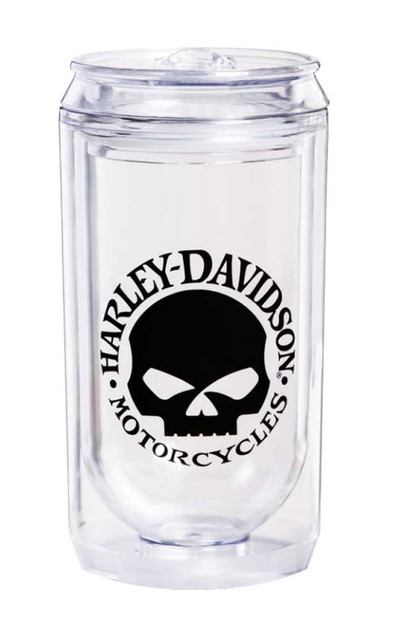Harley-Davidson Willie G Skull Double Wall Acrylic Travel Can, Clear 2CA4906 - Wisconsin Harley-Davidson