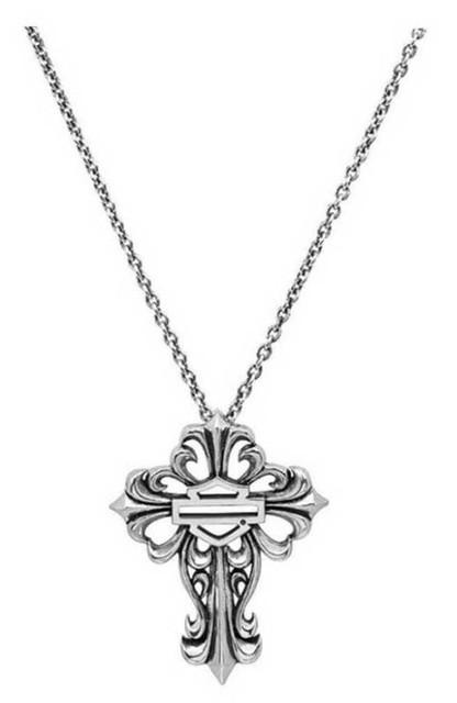 Harley-Davidson Women's Bar & Shield Filigree Cross Necklace, Silver HDN0256-16 - Wisconsin Harley-Davidson
