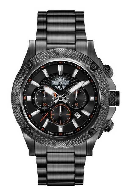 Harley-Davidson Men's Bulova Grey Tone Chronograph Wrist Watch 78B127 - Wisconsin Harley-Davidson