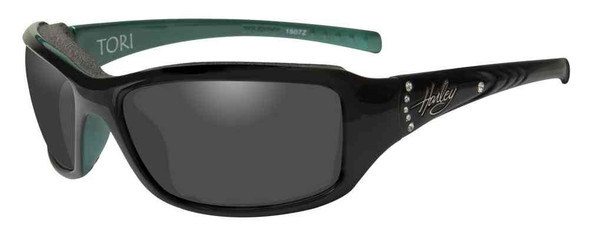 Harley-Davidson Women's Tori Gasket Sunglasses, Black/Green Stones Frame HATOR01 - Wisconsin Harley-Davidson