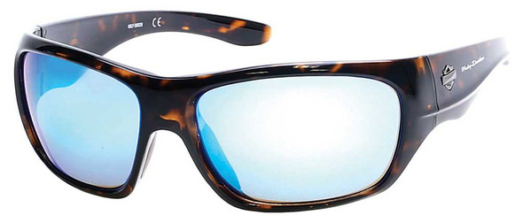 Harley-Davidson Men's Injected B&S Sunglasses, Tortoise Frames & Blue Flash Lens - Wisconsin Harley-Davidson