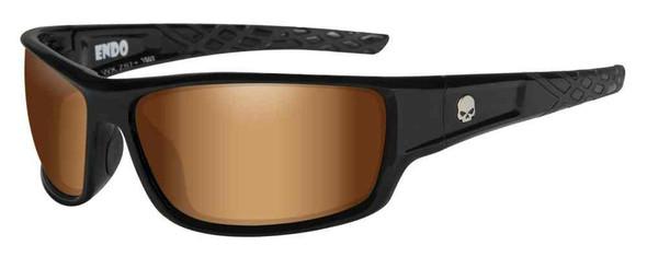 Harley-Davidson Men's Endo Willie G Skull Sunglasses, Bronze Flash Lens HAEND06 - Wisconsin Harley-Davidson