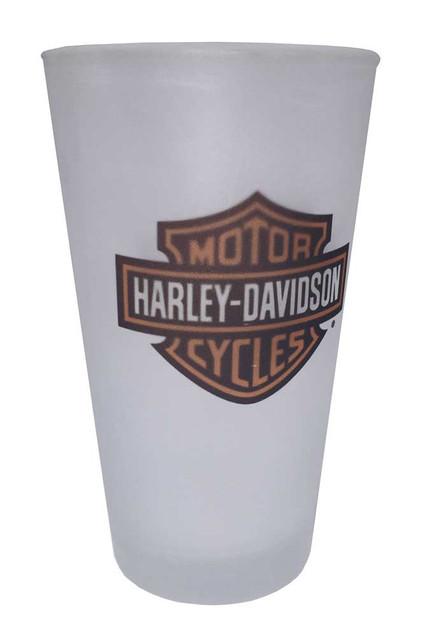 Harley-Davidson Bar & Shield Logo Frosted Pint Glass, 16 oz. HD-BSS-1780 - Wisconsin Harley-Davidson