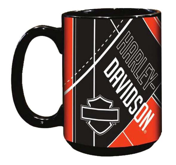 Harley-Davidson Blueprint Bar & Shield Coffee Mug, 15 oz. Black HD-BPR-2004 - Wisconsin Harley-Davidson