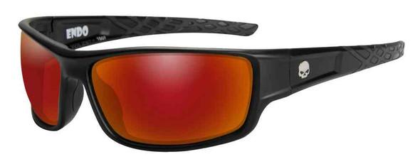 Harley-Davidson Men's Endo Willie G Skull Sunglasses, Red Mirror Lenses HAEND11 - Wisconsin Harley-Davidson