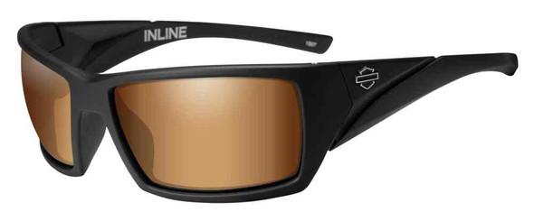 Harley-Davidson Mens Inline Bar & Shield Sunglasses, Bronze Flash Lenses HAINL06 - Wisconsin Harley-Davidson