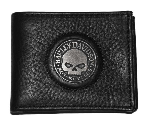 Harley-Davidson Men's Skull Medallion Bi-Fold Wallet Black Leather FB329H - Wisconsin Harley-Davidson