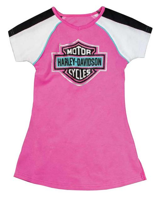 Harley-Davidson Little Girls' Glittery Bar & Shield A-Line T-Shirt Dress 9021649 - Wisconsin Harley-Davidson