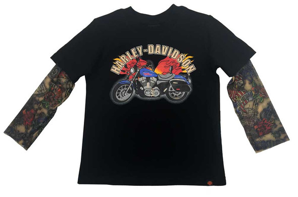 Harley-Davidson Little Boys' Motorcycle Tee w/ Mesh Tattoo Sleeves 1070641 - Wisconsin Harley-Davidson