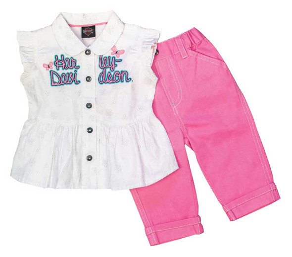 Harley-Davidson Little Girls' 2 Piece Woven Toddler Pant Set, Pink/White 2021625 - Wisconsin Harley-Davidson