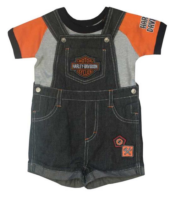Harley-Davidson Baby Boys' 2 Piece Denim Overall Shorts & Creeper Set 3061657 - Wisconsin Harley-Davidson