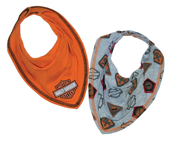 Harley-Davidson Baby Boys' Interlock 2 Pack Bandana Bibs, Orange & Gray 7051627 - Wisconsin Harley-Davidson