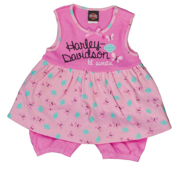 Harley-Davidson Baby Girls' Glittery Newborn Printed Peplum Romper, Pink 3001621 - Wisconsin Harley-Davidson