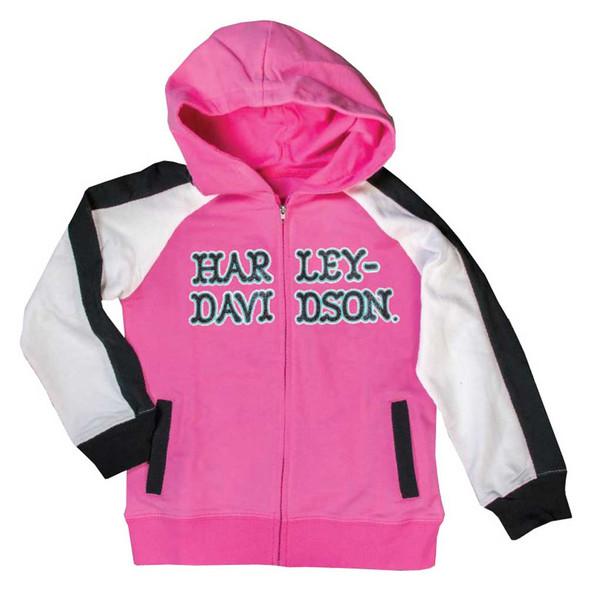 Harley-Davidson Little Girls' Glittery Raglan Hooded Sweatshirt, Pink 6521607 - Wisconsin Harley-Davidson