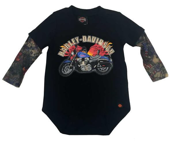 Harley-Davidson Baby Boys' Motorcycle Newborn Creeper w/ Tattoo Sleeves 3050641 - Wisconsin Harley-Davidson