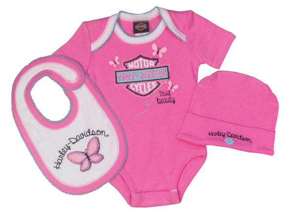 Harley-Davidson Baby Girls' Glittery 3 Piece Creeper Gift Box Set, Pink 2501615 - Wisconsin Harley-Davidson