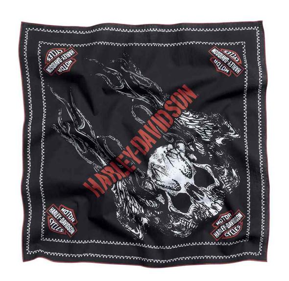 Harley-Davidson Men's Flame Skull Bandana Headwrap, Black/Orange 97662-16VM - Wisconsin Harley-Davidson