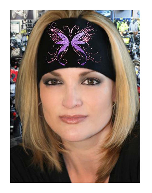 That's A Wrap Bling Knotty Band, Embellished Angel Butterfly Glitz, Black KB1125 - Wisconsin Harley-Davidson